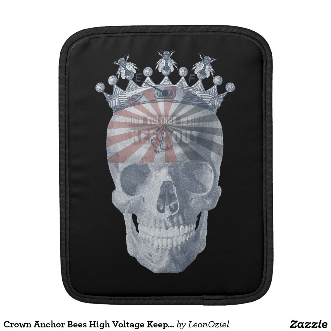 Crown anchor bees high voltage keep out skull ipad mini sleeves