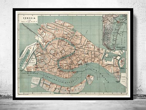 Photo of Old Map of Venice Italy 1886 Vintage Venice Map
