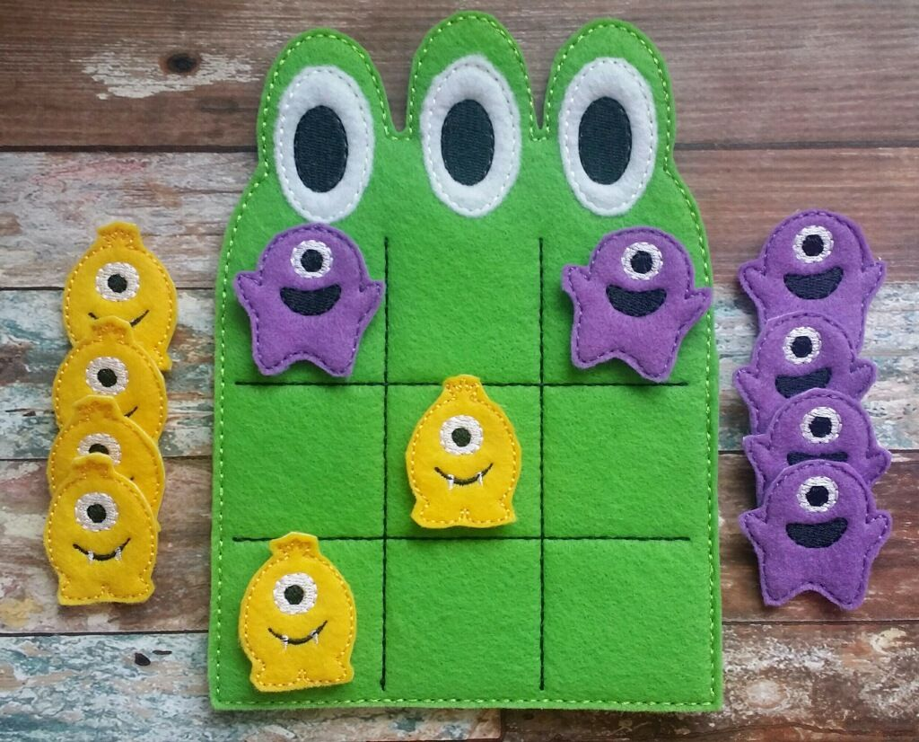 monster tic tac toe game made and sold by heart felt embroidery