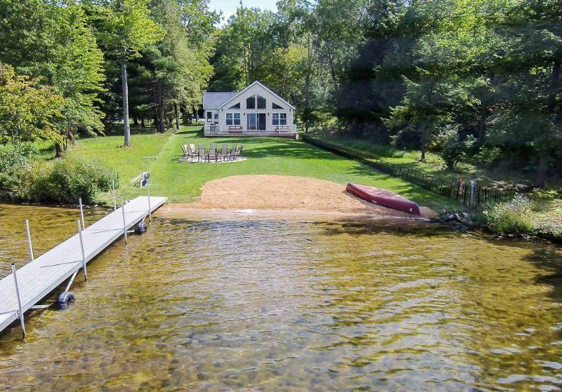 Lkfront Private Beach Dock Sunset Shores Lk House Allegan County Vacation Rentals All New Home Built 2015 Exper Lake House Rentals Lake House Lake Cottage