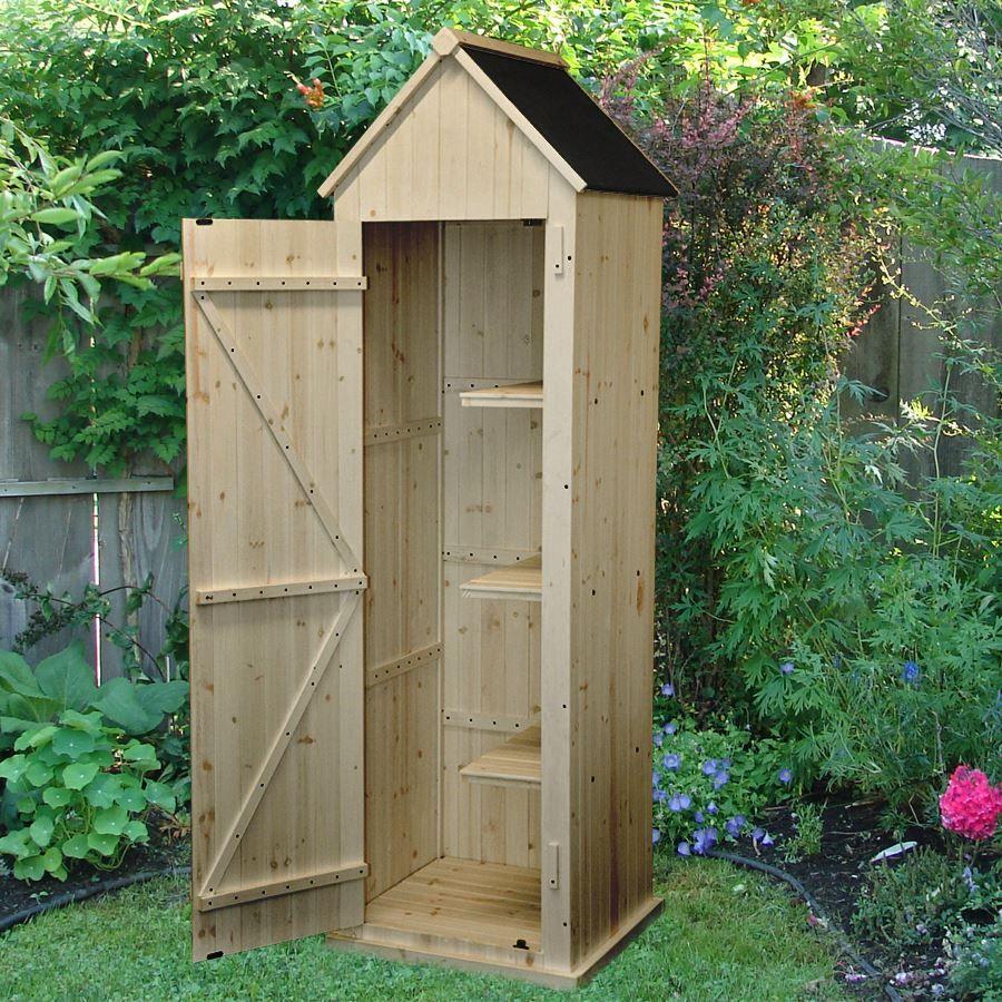 Gartenschrank Holz schöner gartenschrank aus holz mit spitzdach und geräumigem