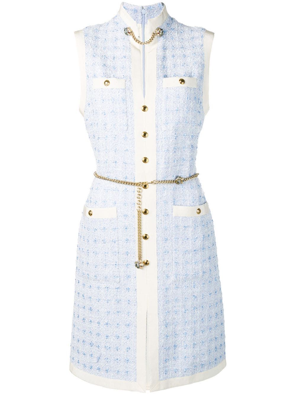 Photo of Gucci Short tweed dress with chain belt – Blue