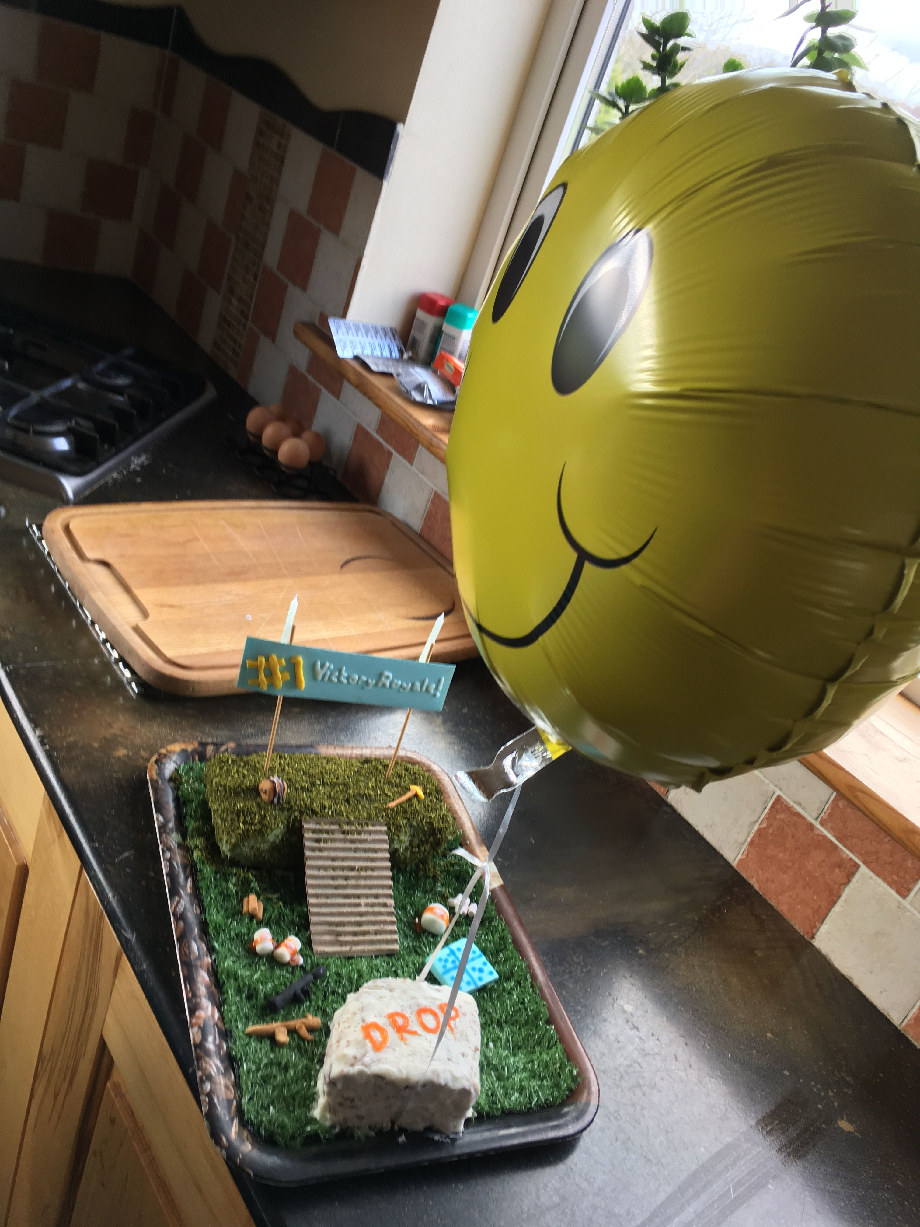 Fortnite cake complete with supply drop Bday, Birthday