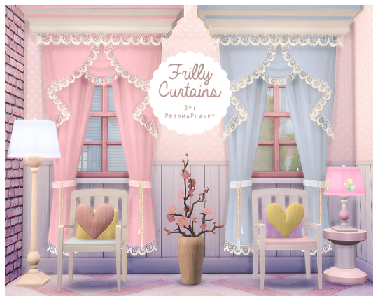 Frilly Curtains (Solid colors) by Симс