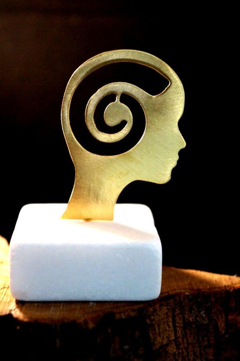 Thanksgiving gift for Yoga lover, Minimal small meditation statue, Laser Cut symbol of mindfulness and Meditation, Yoga Teacher Gift