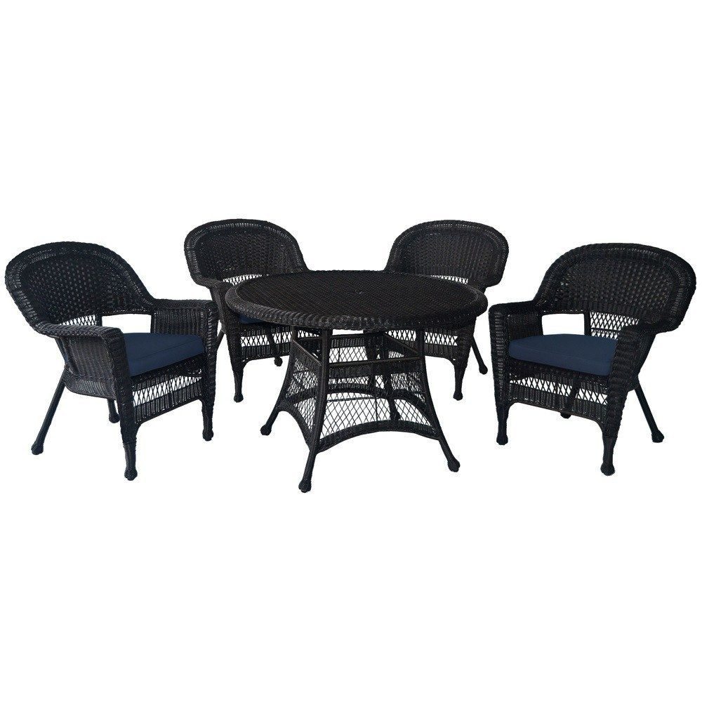 Jeco, 5 Piece Espresso Wicker Dining Set