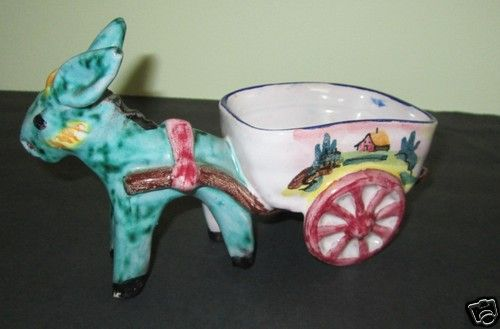 Donkey Cart Ceramic Italy Hand Painted Mule Planter Wagon
