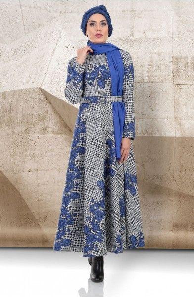 f0e64063d8998 Mustafa Dikmen Mevsimlik Çiçek Desenli Kloş Elbise 179004 Saks En özel tesettür  elbise modelleri Elbise.
