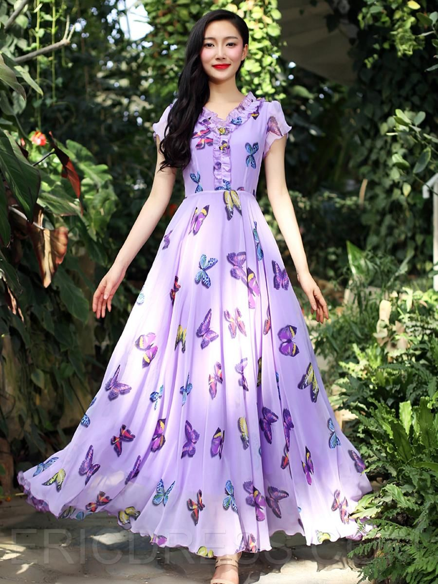 Ericdress butterfly printing maximum style dress maximum style