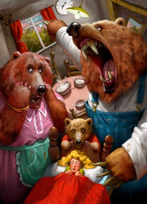 illustration, animal, bear, interior, figure, girl, scared, fairy tale. Goldilocks and the three bears. Simon Dominic