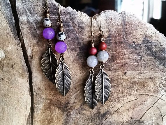 Gemstone & Bronze Leaf Earrings