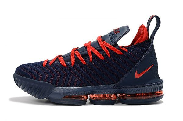 a8f10e5b384 2018 New Release Nike LeBron 16 Navy Blue University Red Basketball Shoes