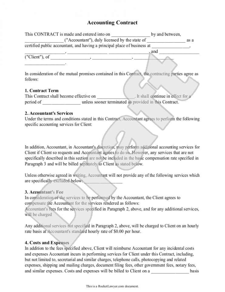 Accounting Contract Template  Template And Pdf