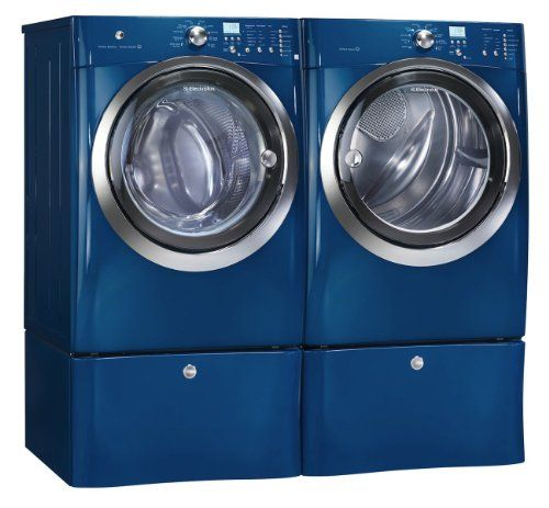 Electrolux Iq Touch Blue Steam Front Load Washer And Electric Dryer Laundry Set With Pedestals Eifls55imb Eimed55imb Epwd15mb