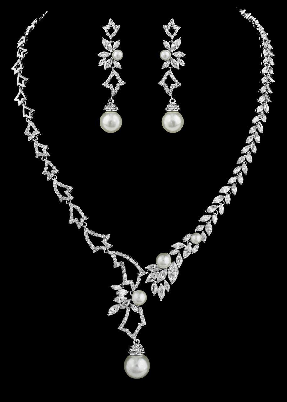 pearl and cz bridal jewelry set ne4000 affordable elegance bridal