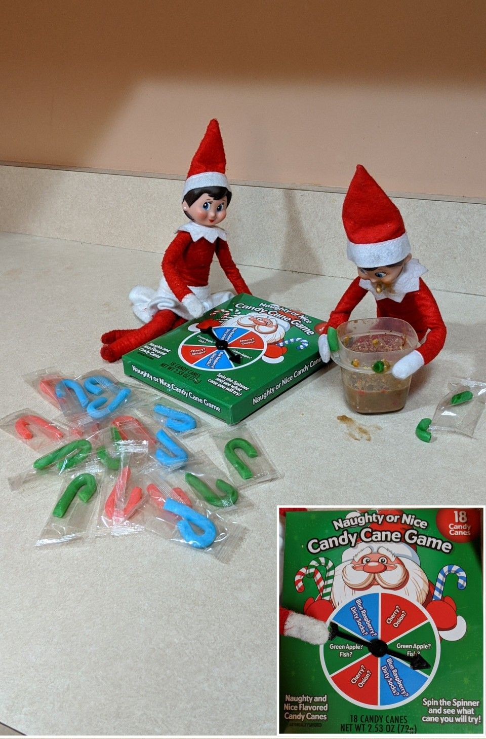 Elf on the shelf play naughty or nice candy cane game (The