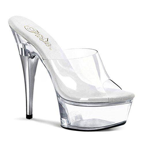28dfeffa8954a 6 Inch Sexy High Heeled Shoe Womens Platform Clear Slide Size 13 ...