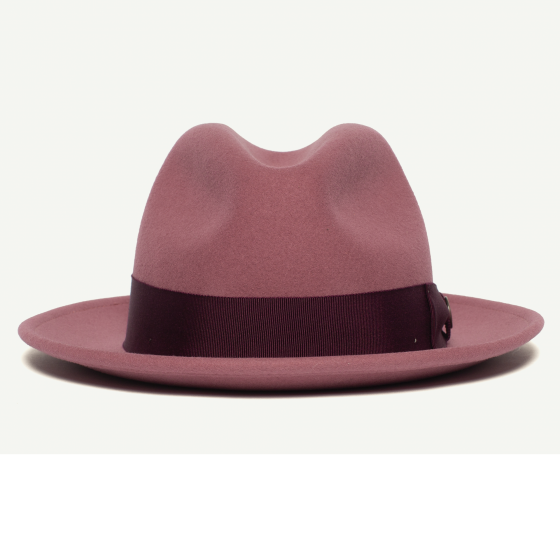 3d93badd359d9 Dean The Butcher Pink felt Wide Brim Fedora hat front view