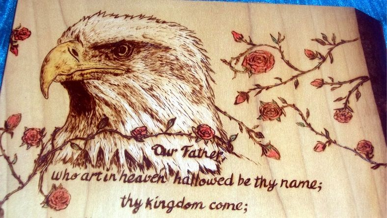 The Lord's Prayer with Eagle woodburned into wood.  WoodFARTS.com