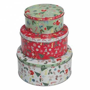 Set of Three Vintage Christmas Image Cake Tins