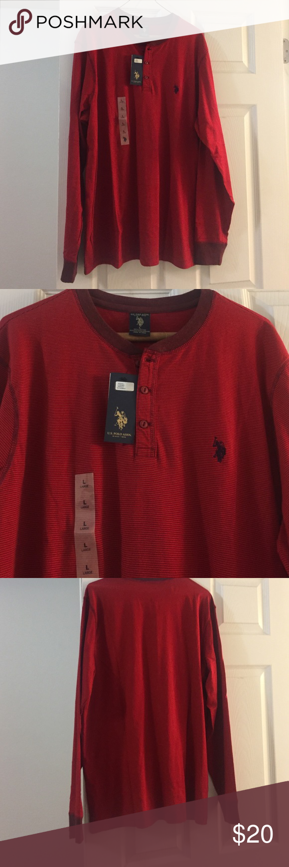 Polo red long sleeve Men's long sleeve red polo U.S. Polo Assn. Shirts Tees - Long Sleeve