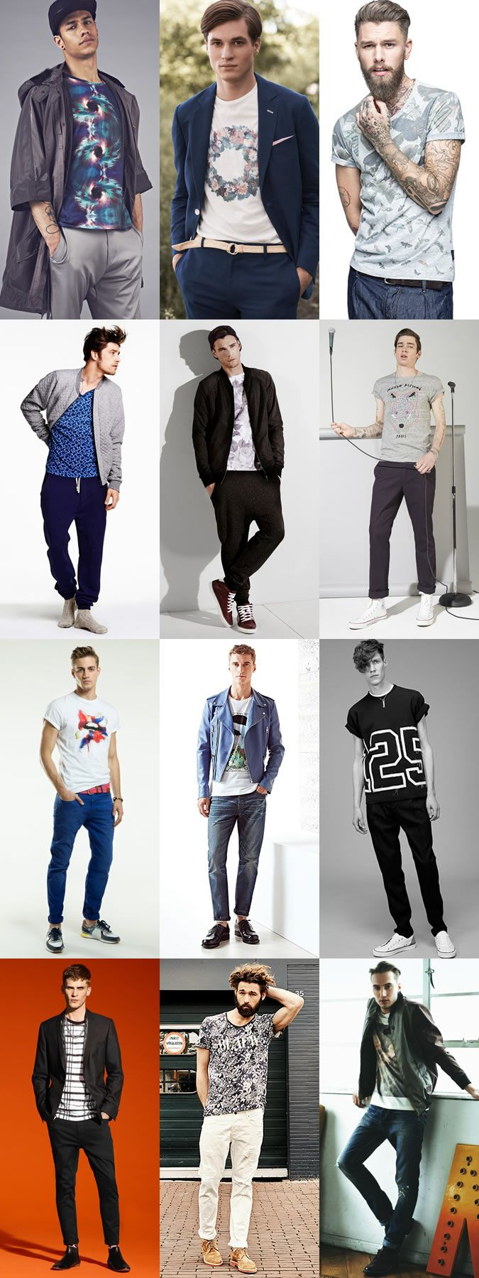 Men's Printed/Patterned Statement T-Shirts - Transitional Outfit Inspiration Lookbook