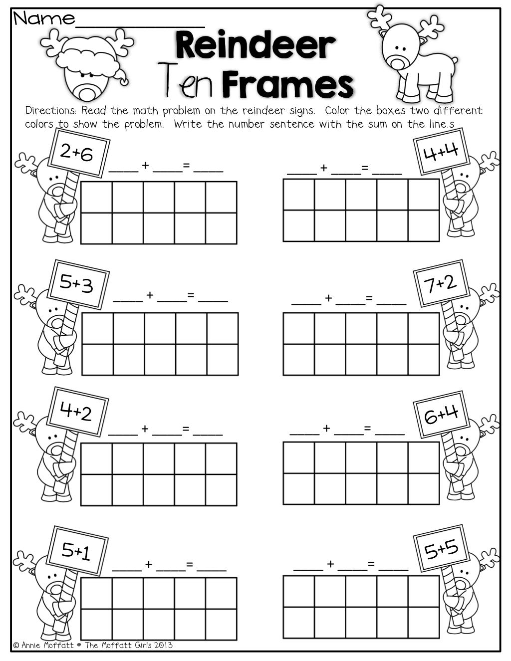 Reindeer Ten Frames Education Kindergarten Math Math Kindergarten Addition Worksheets Education Math Simple Math [ 1325 x 1024 Pixel ]