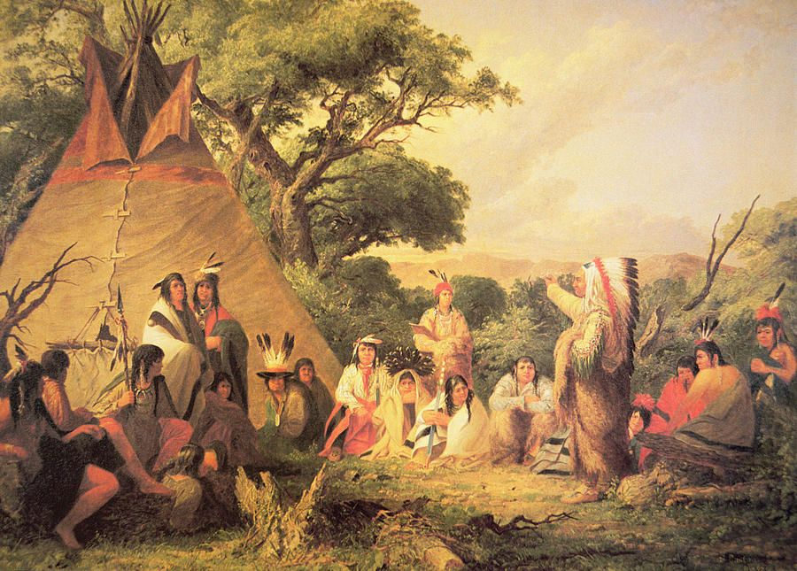 NATIVE AMERICAN INDIAN COUNCIL GATHERING MEETING PAINTING ART REAL CANVAS PRINT