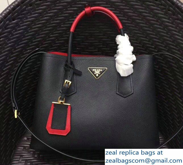 6bf213c8139e ... order prada two tone handles saffiano double leather bag 1bg775 black  red 2018 3cb69 4ad96