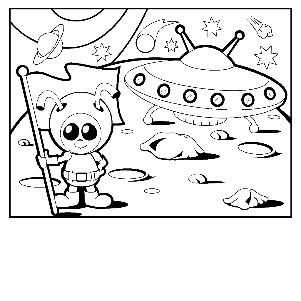 m and m coloring pages alien coloring page familyigloo - Spaceship Coloring Pages Print