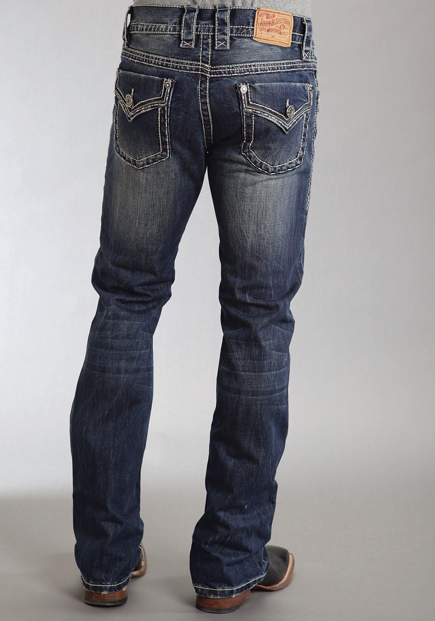 97983273c573 Stetson Mens Stetson Rocks Fit Jeans Flap Back Pkt Ows   Denim ...