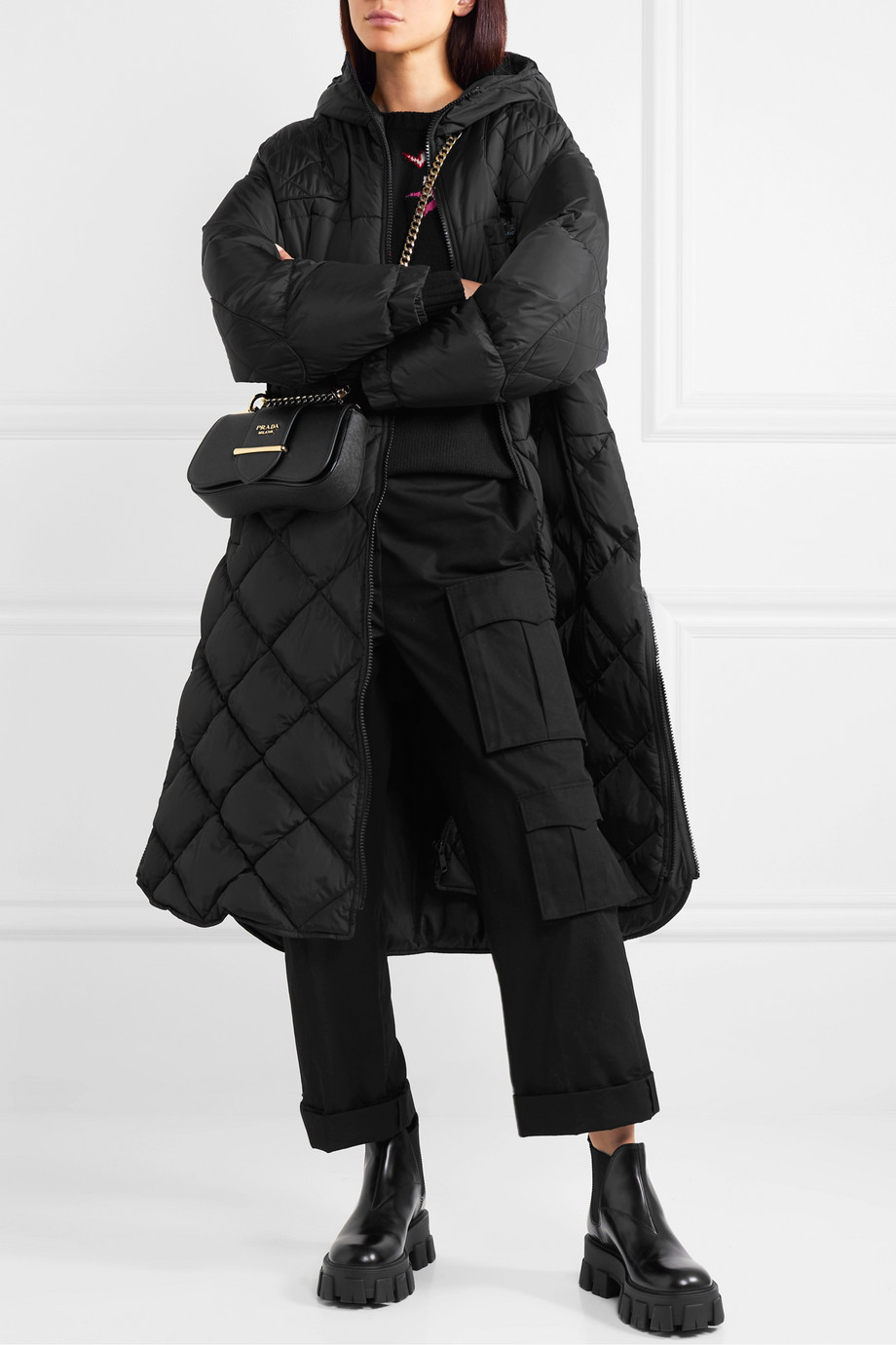 Black Hooded Quilted Shell Down Coat Prada Down Coat Quilted Coat Outfit Fashion [ 1380 x 920 Pixel ]