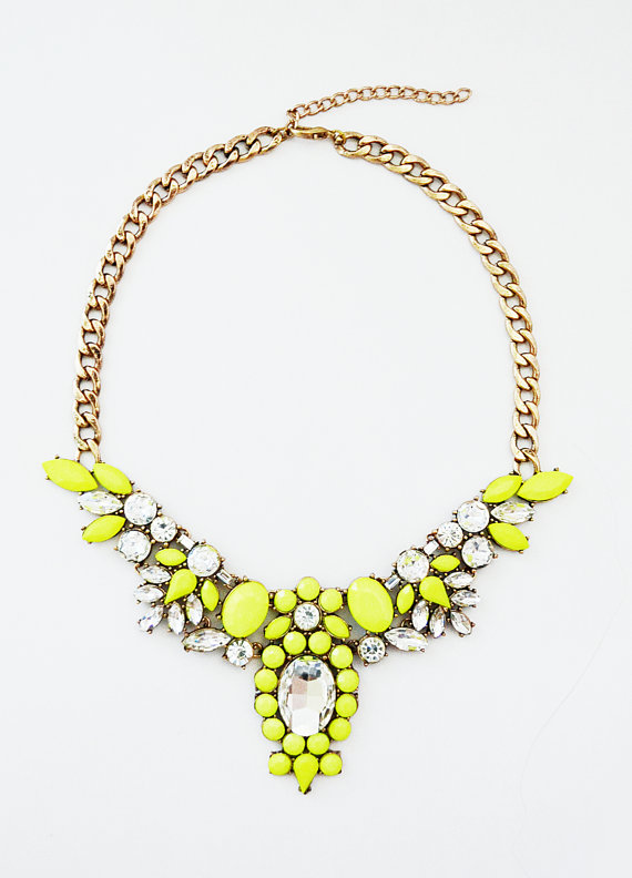 b6c56d322b6 Neon Yellow Statement Necklace J Crew by ShamelesslySparkly, $26.90 ...