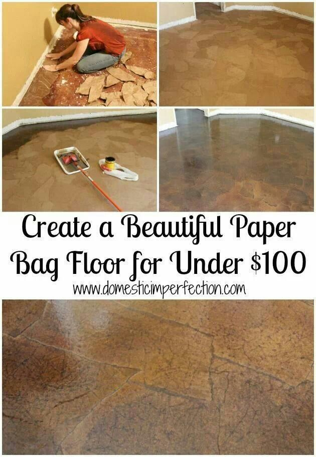Paper Bag Floor Hmmm What About White Then Paint A Stencil Or Pattern