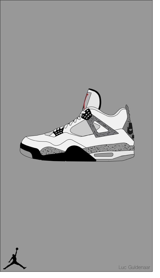 Air Jordan 4 White Cement I Made Using Adobe Illustrator