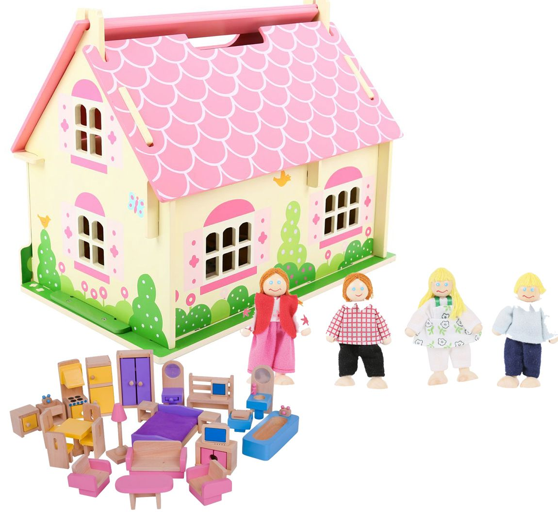Bigjigs Blossom Cottage Dolls House + Furniture & Family