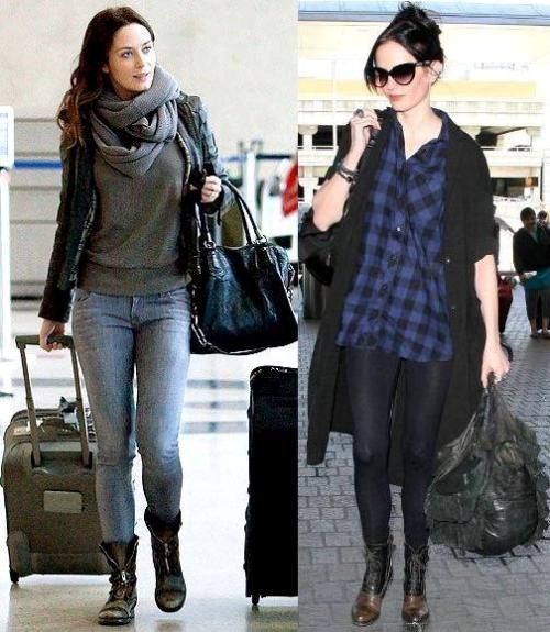 Emily Blunt and Eva Green airport fashion style