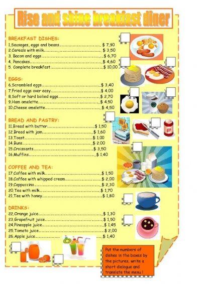 Printable Menu Worksheets Breakfast Menu Worksheet Free Esl Printable Worksheets Made By Printable Math Worksheets Printable Menu Math Worksheets Menu math worksheets printable