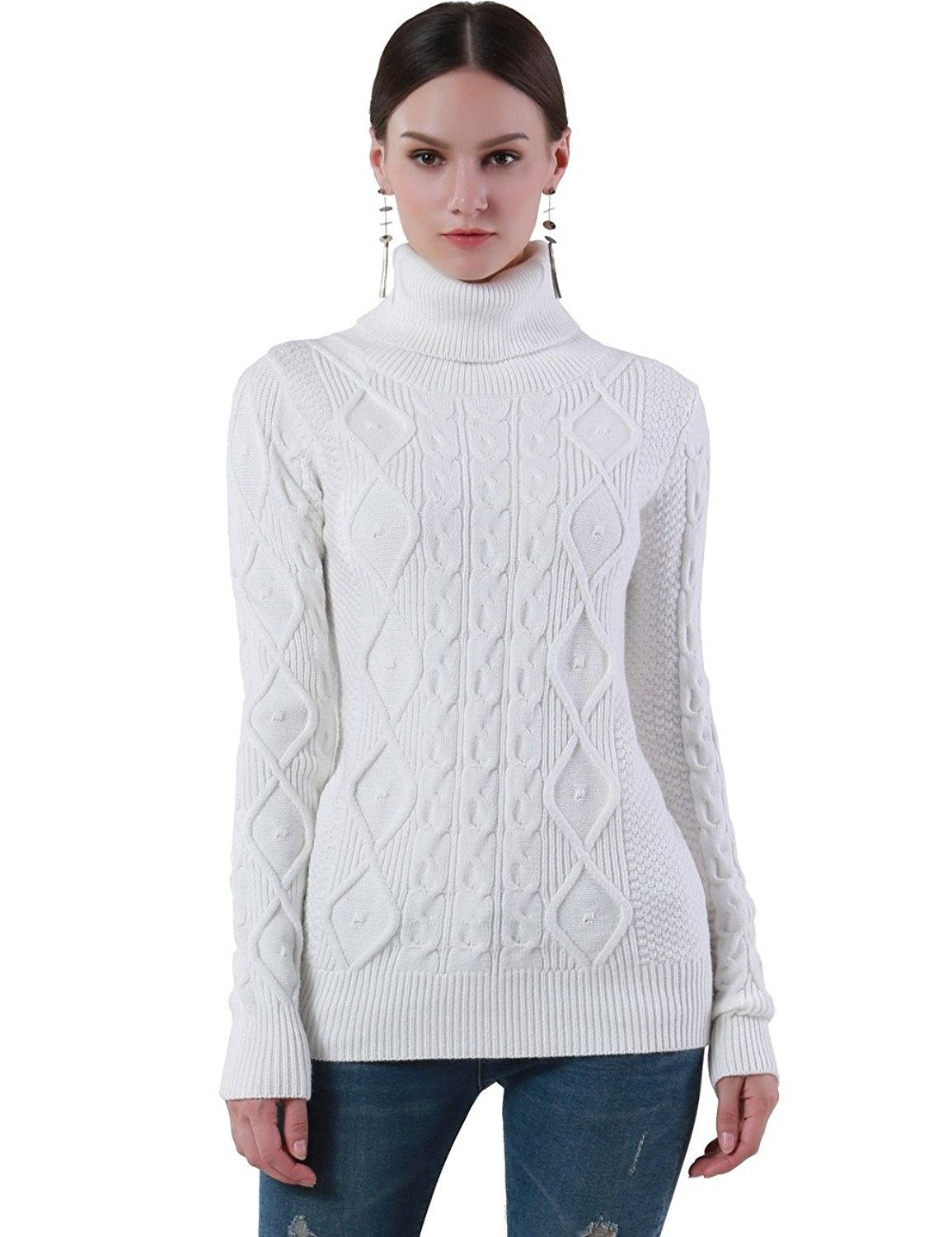 Women's Turtleneck Sweater Long Sleeve Cable Knit Sweater