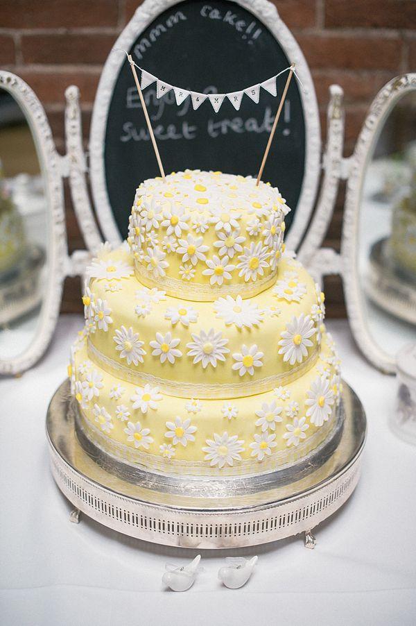 Mr Mrs Mini Bunting Cake Topper Real Wedding Yellow Rustic