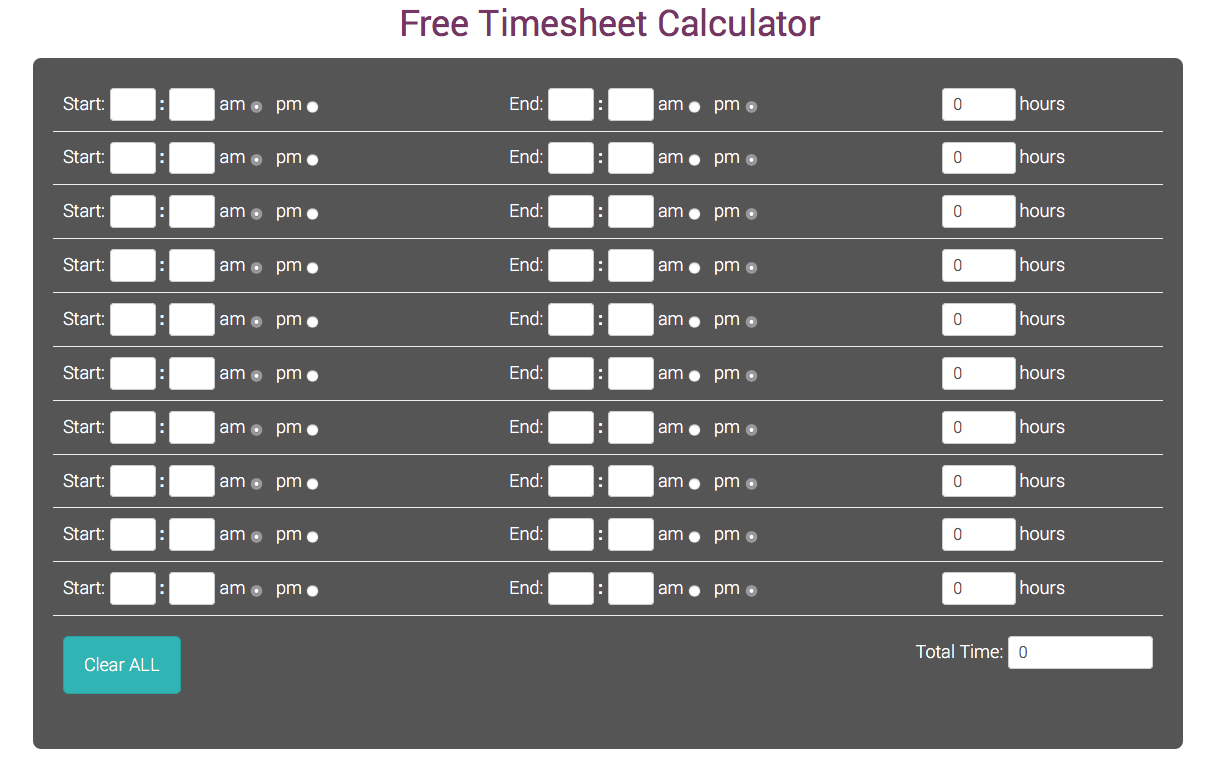 Free Time Sheet Calculator Timesheet Calculator
