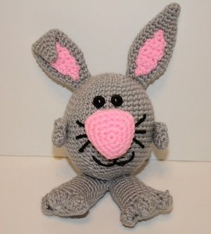 Bunny Noggin Pal - $2.00 by Mary Smith of Made by Mary | Bunny Rabbits Part 3 - Animal Crochet Pattern Round Up - Rebeckah's Treasures