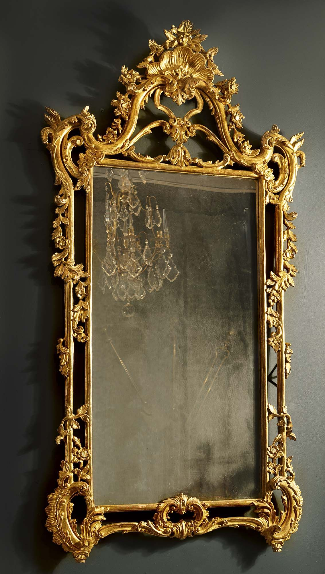 Antique english rococo gilded mirror furniture props for Gilded baroque mirror