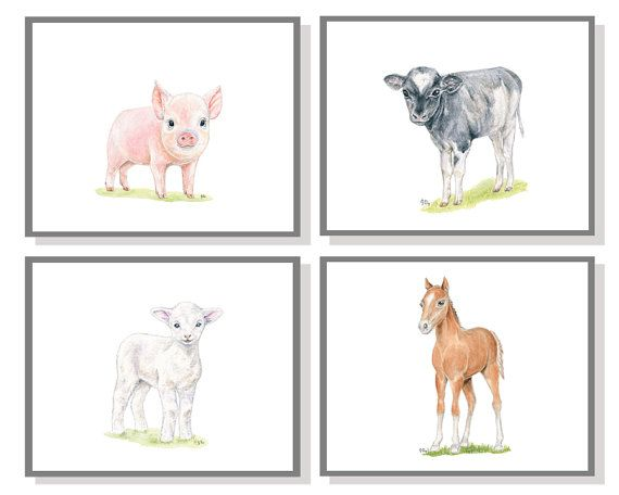 Farm Nursery Art Animal Print Set Of 4 Baby Watercolor Room Child Toddler Boy Lamb Sheep Pig Horse Pony Cow Calf