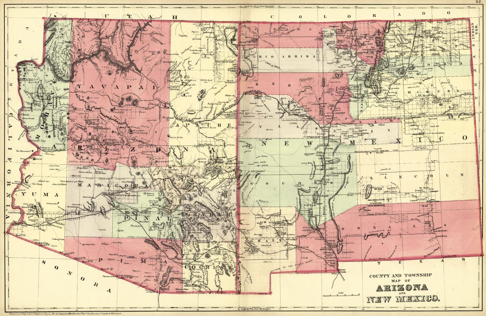 County and Township Map of Arizona and New Mexico. S. Aug ...