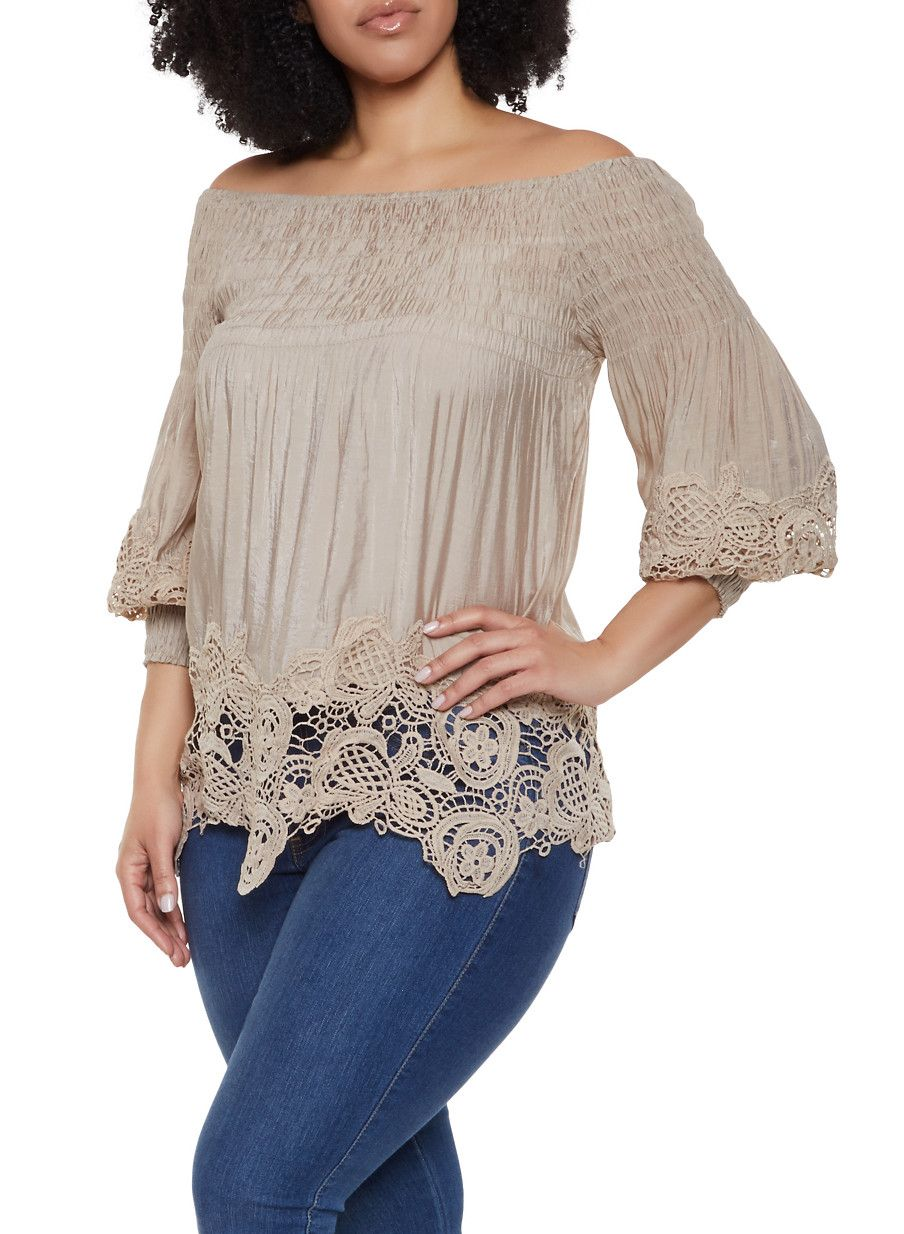 237030d1a1e5 Plus Size Crochet Trim Bubble Sleeve Off the Shoulder Top - Beige - Size 2X