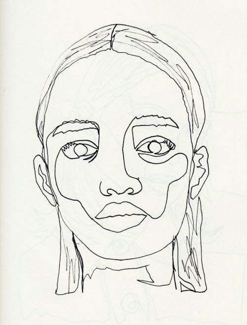 Continuous Line Drawing Of A Face : Continuous line drawing by me for more click here inked