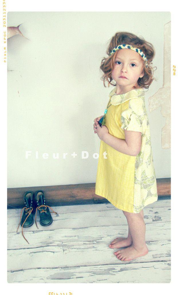 Toujours Soleil Color Block Peter Pan Collar Girls Shift Dress – Fleur + Dot #fleuranddot