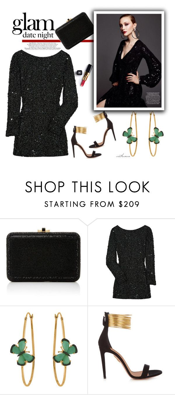 """""""Glam Sequins"""" by arethaman ❤ liked on Polyvore featuring Judith Leiber, Chanel, Antik Batik, Christina Debs, Naeem Khan, Aquazzura, DateNight, sequindress, Sequins and glam"""