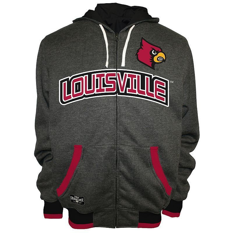 Men's Franchise Club Louisville Cardinals Power Play Reversible Hooded Jacket, Size: Small, Grey